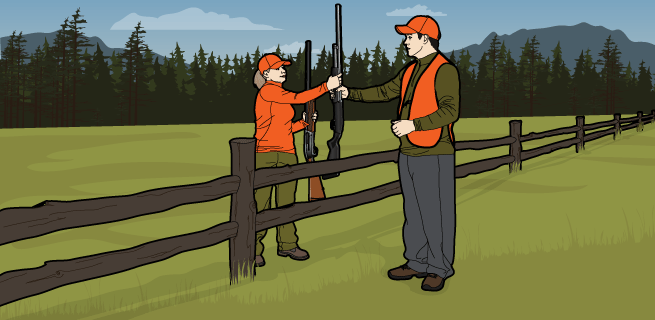 Step 3.Pass Firearms through fence